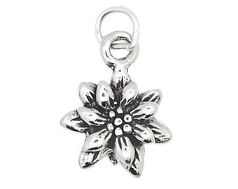 Sterling Silver Poinsettia Flower Charm (3d Charm)