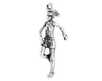 Sterling Silver Female Runner / Jogger Charm (3d charm)