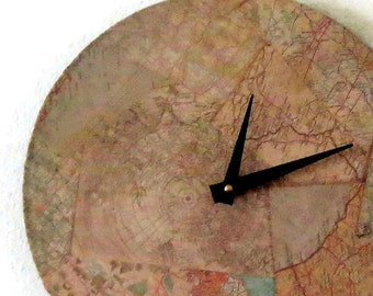 Unique Wall Clock, Map Clock, trending Map Decor,  Home and Living,  Decor & Housewares, Home Decor, Unique Gift