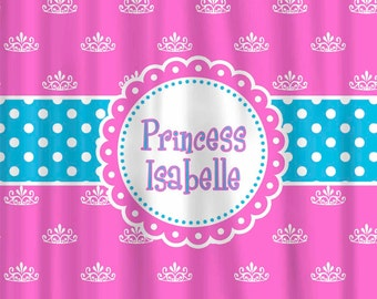 Custom Princess Tiara Shower Curtain Personalized - Any Color