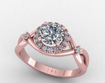 rose gold forever brilliant  moissanite engagement ring,   diamond halo engagement , custom design ring,style 5RGDM