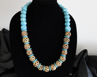 SALE - handmade, necklace, turquoise, African, brass, beads, bold, statement