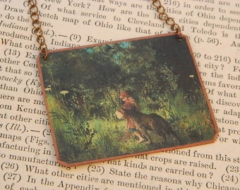 Red Riding Hood necklace  literature literary mixed media jewelry