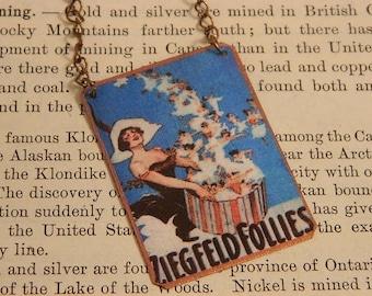 Pin up necklace mixed media jewelry Ziegfeld Follies