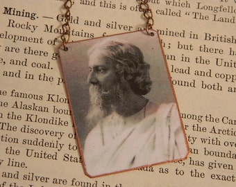 Tagore necklace Rabindranath Tagore literature music jewelry mixed media jewelry