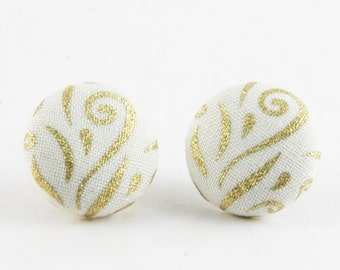 Gold Wedding Earrings - Bridal Button Earrings - Fabric Covered Earrings - Bridesmaid Gift - Cute Studs