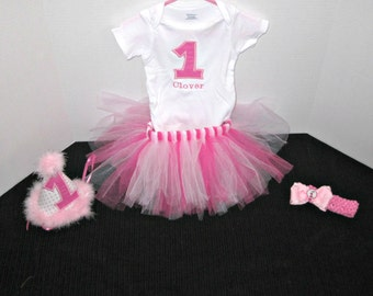Girls 1st Birthday Outfit, Birthday Outfit, Cake Smash Outfit, 1st Birthday Shirt, Birthday Tutu,Hot Pink Birthday;Party Hat;Tutu Outfit