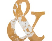 Ampersand Typography Print | Rustic Yellow Urban Texture Photograph | Wall Art | Home Decor | Writers & Artists | Mustard White