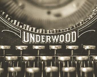 Vintage Typewriter Print | Underwood #5 Photograph | Wall Art | Office Decor | Nostalgia | Sepia | Brown Tones | For Writers