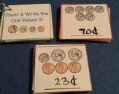 Money Flash Cards / Counting Money, DRY ERASE, LAMINATED, Coins, First Grade, Math, Kids, Educational Toys, Montessori, Learning, Education