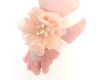 Peach Baby Barefoot Sandals - Baby Photo Prop