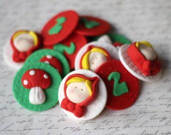Little red riding hood ridinghood fondant topper cupcake topper - nursery rhyme fondant toppers