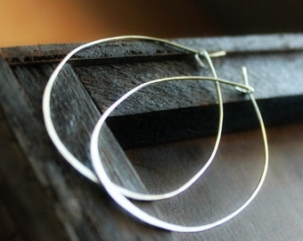 Silver Big Hoops, Thin Wire Hoops, Organic Oval Hoops, Thin Oval Hoops, Sterling Silver Hoops, Skinny Silver Hoop Earrings, For her