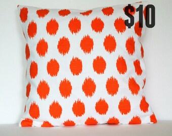 Orange Ikat Dots Pillow Cover - 18 x 18 Decorative Pillow Cover