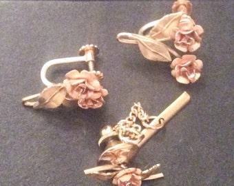 Krementz Jewelry Set Earrings with Tie Pin Rose Flower 1940s Vintage Jewelry, SUMMER SALE