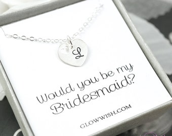 Initial necklace, bridesmaid gift idea, boxed jewelry, monogram letter, sterling silver be my bridesmaid gift