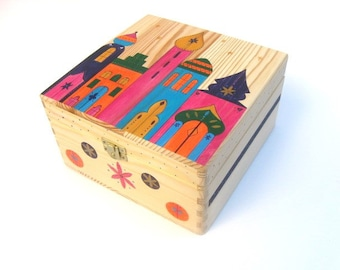 Large hand-painted keepsake box, Memory box, Wooden trinket box with Moroccan town inspired design.