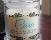 Name meaning Personalized Soy candle for baptism or Wedding name meaning