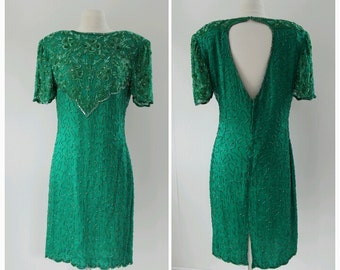 Vintage Beaded, 1980s, Green Sequin Party Dress, christmas dress