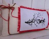 50% CLEARANCE SALE Burlap pillow, valentines day, rustic burlap, burlap pillows, squirrels, decorative pillows, farmhouse decor, hearts