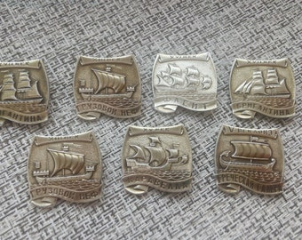 russian ships - set of 7 rare pin badges - fleet, navy