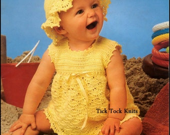 No.343 Baby Crochet Pattern PDF Vintage - Dress & Sun Hat - Size 3, 6, 12 months - Baby Dress Crochet Pattern