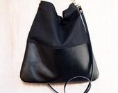 Black Leather and Black Canvas Tote Bag - HARRIS - Adjustable Leather Shoulder Bag optional zipper Leather Shopper Bag by HOLM