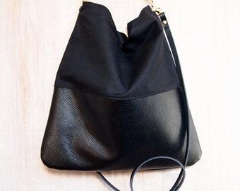 Black Leather and Black Canvas Tote Bag - HARRIS - Adjustable Leather Shoulder Bag optional zipper Leather Shopper Bag by HOLM goods