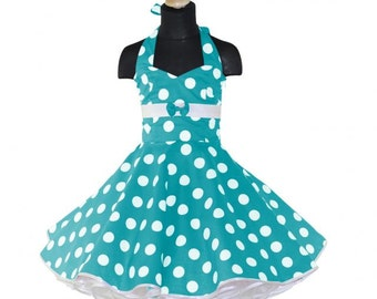 Girls 50's dress for petticoat custom made in turquoise with large white dots