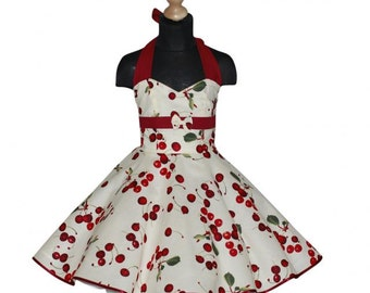 baby 50's dress for petticoat custom made in creme with bordeaux cherries