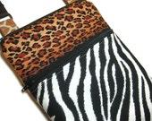 Animal print mix cross body shoulder sling adjustable strap travel vacation wallet purse small zebra cheetah leopard giraffe