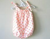 Baby girl romper orange polka dot bubble romper playsuit