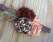 Shabby Chiffon Flower Brown Tan - Duck Grass Camo Headband - Real Camo Bow - Feather Pearl Childrens Newborn Headband or Hair Clip