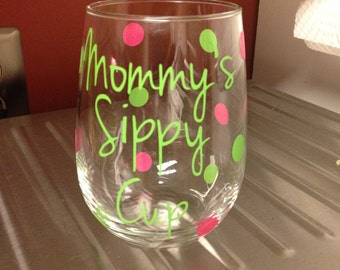 Personalized Stemless Sippy Cup Wine Glass