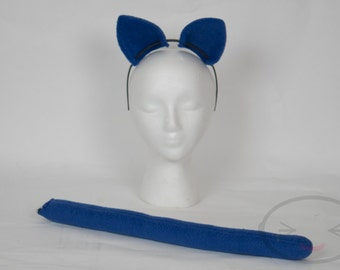 Royal Blue Cat Tail and Ear Set, Cosplay, Accessories, Costume