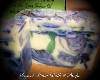 Soap Black Amber Musk Vegan Handcrafted Natural Body Soap with Babassu Oil and Shea