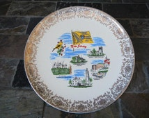 Vintage New Jersey Collectible Souvenir State Plate Gold Filigree Lacy Border