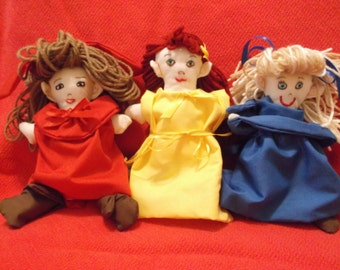 Three Primary Color Rag Dolls. Red, Yellow, Blue Rag Dolls, Set of three Rag Dolls