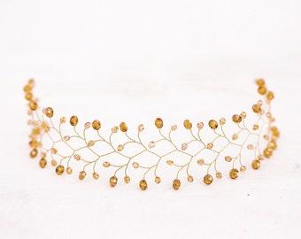 11_Hair accessories, Orange hair piece, Gold hairband, Orange wedding, Headpiece, Crystal crown, Twig, Tiaras, Crystal tiara, Hair crystals