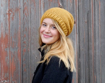 Crochet slouchy hat in a variety of colors