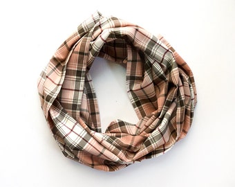 Large Pink and Brown Plaid Scarf / Shawl