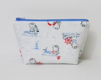 SALE- Extra Small Makeup Bag, Bears in Boats, Trinket Bag, One of a Kind