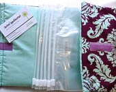 Plum and Mint Damask Clutter Keeper Organizer for purse, suitcase, briefcase, diaper bag, car