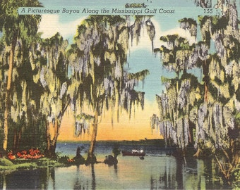 Vintage Linen Postcard..A Picturesque Bayou Along the Mississippi Gulf Coast.....Unused....no. 2352