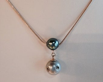 14kt Yellow Gold Tahitian Pearl Drop Necklace with Black Diamonds-N383