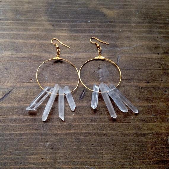 Quartz Crystal Cluster Gold tone Hoop Earrings
