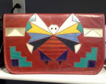 Vintage 1980s Large Colorful Red Southwest Leather Patchwork Clutch Bag