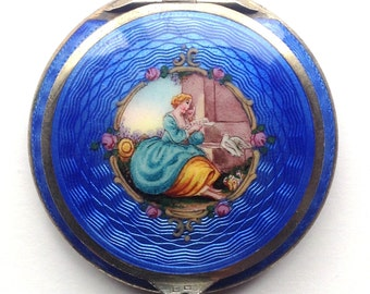 Austrian Sterling Cobalt Blue Guilloche Enamel Powder Compact Hand Painted Lady