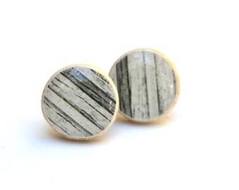 Black and White Striped Studs Wood Studs Black stud Earrings  tribal studs geometric studs eco friendly jewelry Wood earrings Hypoallergenic