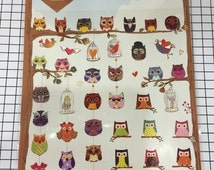Owl sticker seal - 1 sheets - Colorful Owl sticker sheet,deco stickers, Cute owl Scrapbook material supplies